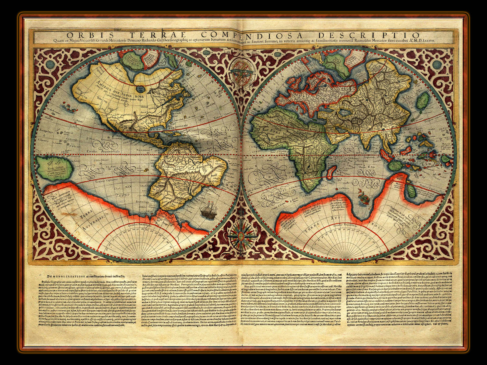 """Gerhard Mercator 1595 World Atlas - Cosmographicae"" - Wallpaper No. 106 of 106. Right click for saving options."